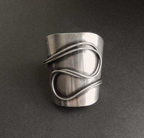 Modernist Huge Cuff Bracelet Sterling xTo Ella Cone Mid Century Signed