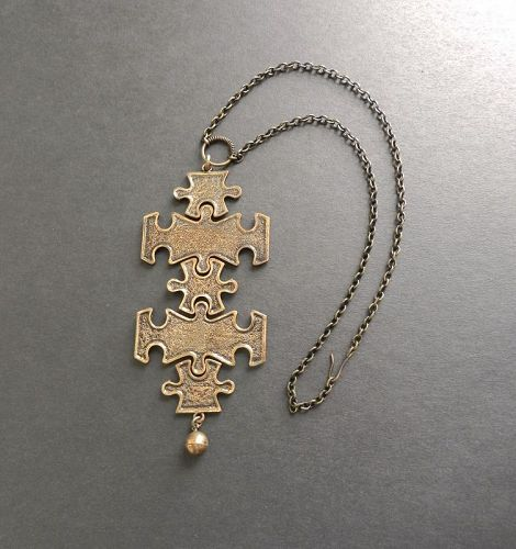 Pentti Sarpaneva Finland Bronze Large Kinetic Puzzle Pendant and Chain