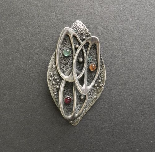 Sterling Luella C Schroeder LCS Hand Wrought Pendant Multiple Stones