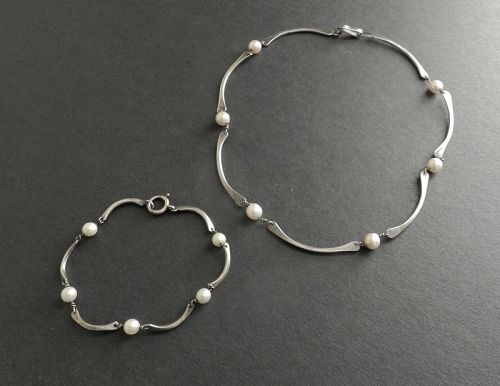 Esther Lewittes Hand Made Sterling & Pearl Necklace and or Bracelet