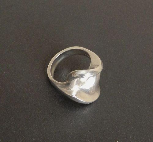 Hans Hansen Sterling Ring Modernist HaH Denmark Allan Scharff Sz 8