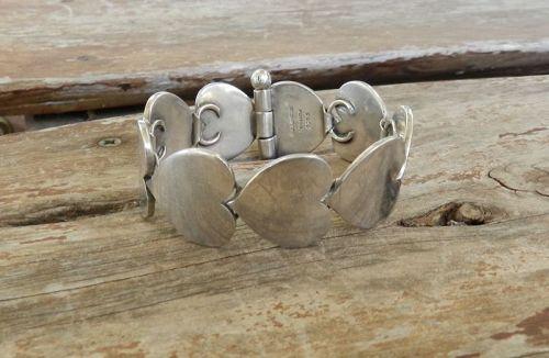 Hans Hansen Early Sterling Larger Heart Bracelet Karl Gustav #237