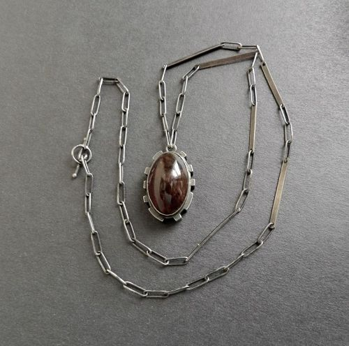 Sterling & Amber Necklace Pendant Arts Crafts Design Hand Wrought