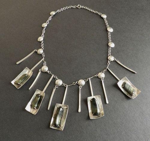 Vintage Modernist Hand Wrought Necklace Sterling & Hawk's Eye Stones