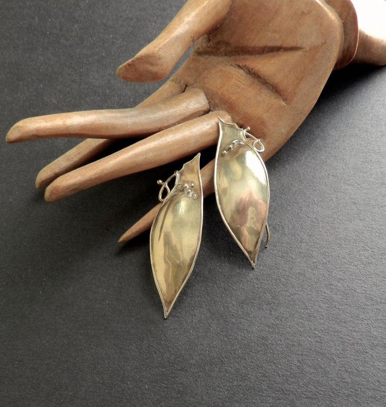Marci Zelmanoff Gold & Sterling Modernist Earrings Signed Pierced