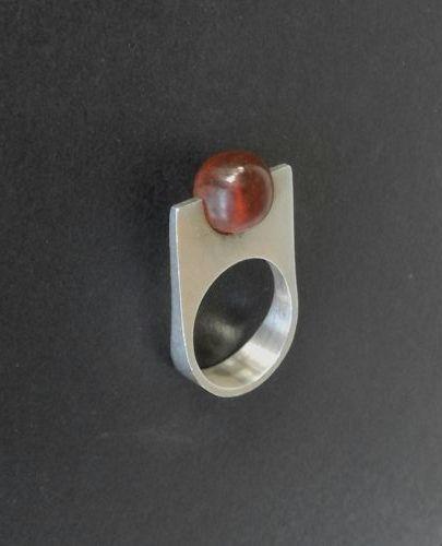N E From Sterling Amber Ball Modernist Ring Size 7 Niels Erik Denmark