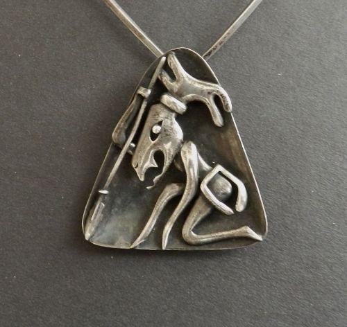 Vintage Salvador Teran Rare Pendant Mexico 174 Sterling Silver Warrior