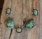 Vintage Early Taxco Sterling Necklace Carved Green Masks Pendant