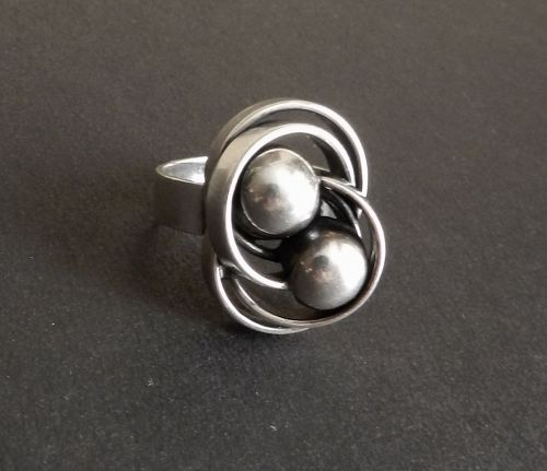 Sterling Modernist Elis Kauppi Ring Two Orbs Finland Size 7.5
