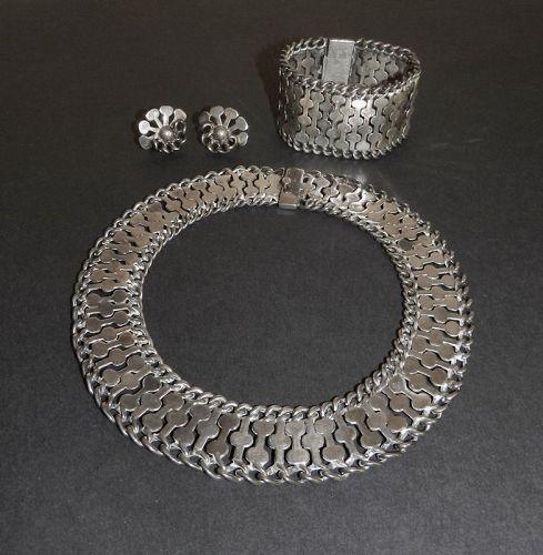Vintage Early Plateria FarFan Necklace Bracelet Earrings Sterling