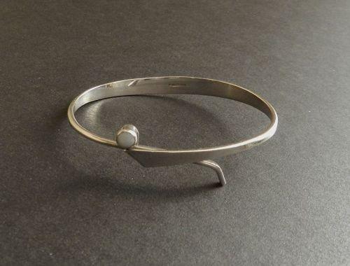 Vintage Modernist Ed LEVIN Sterling Silver Opal Bracelet Adjustable
