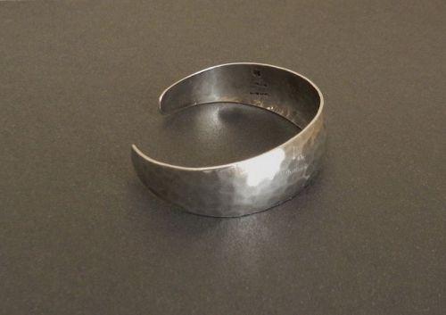 "Art Silver Shop Hammered Sterling Cuff Bracelet Chicago Hand Made 7"""