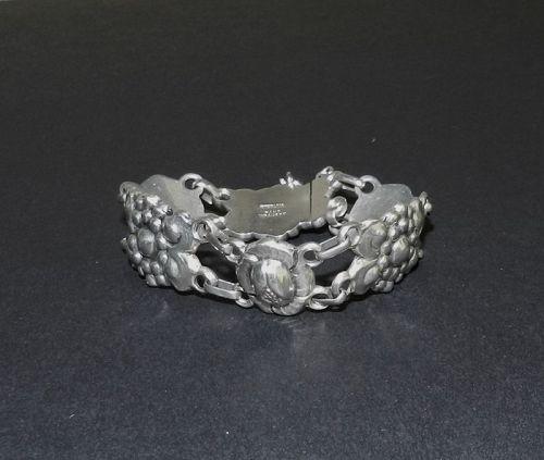 Vintage Sterling Floral Hand Wrought Bracelet Arts & Crafts Kalo Style