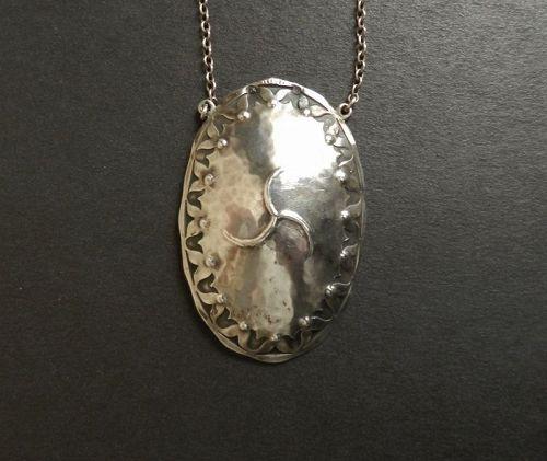 Vintage Albert Kahlbrandt Arts and Crafts Hammered Silver Pendant