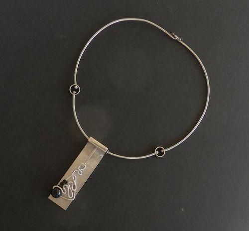 Vintage Modernist Oswaldo Guayasamin Kinetic Pendant Necklace Onyx