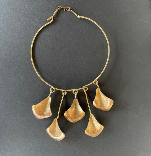 Vintage Modernist Hand Wrought Necklace LILLO Israel Leaves Neck Ring