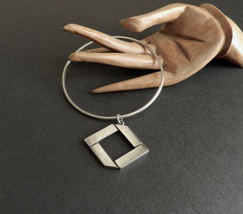 Vintage Hand Wrought C Leslie Smith Sterling Bangle Bracelet & Charm