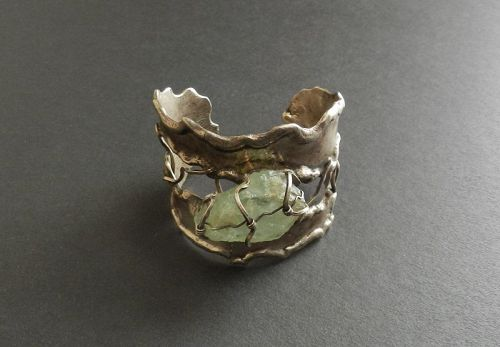 Arthur King Modernist Caged Raw Stone Sterling Cuff Bracelet As Found