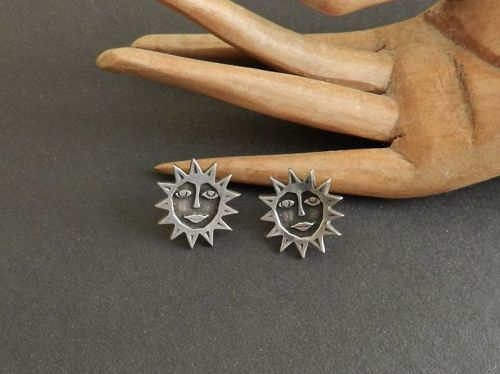 Modernist Jorma Laine Finland 830 Silver Earrings 1974 Pierced Posts