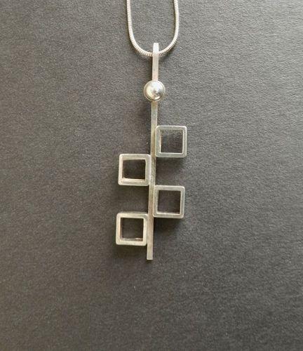 N E From Sterling Modernist Cubes Pendant on Chain Niels Erik Denmark
