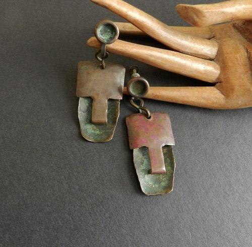 Ken Beldin Figural MCM Mixed Metals Copper Brass Silver Large Earrings