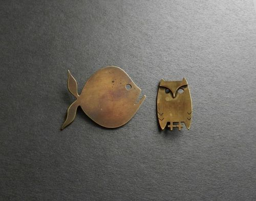 Peggy Miller Stylized Owl & Fish Hand Made Pins Both or Your Choice