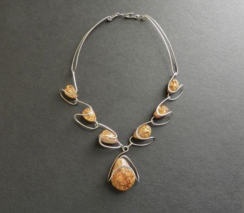 Vtg Elsa Freund Modernist Glass Silver Clay Necklace Amber Elsaramic