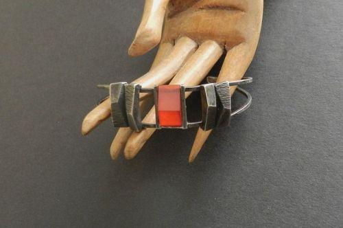 Sterling Modernist Vera Allison Carnelian Bracelet Cuff Rare MCM