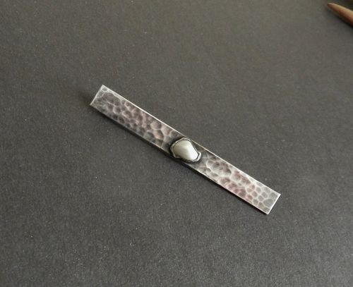Art Silver Shop Hammered Sterling & Pearl Brooch Chicago Hand Made