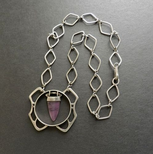Vintage Modernist Sterling Amethyst Pendant Necklace Hand Made Signed