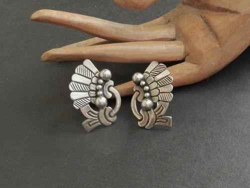 Vintage Victoria Taxco Sterling 449 Earrings Eagle #3 Screw Backs