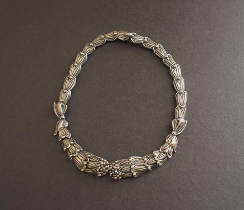 Vtg Early Margot de Taxco Sterling #5316 Necklace Cornflower Eagle 16
