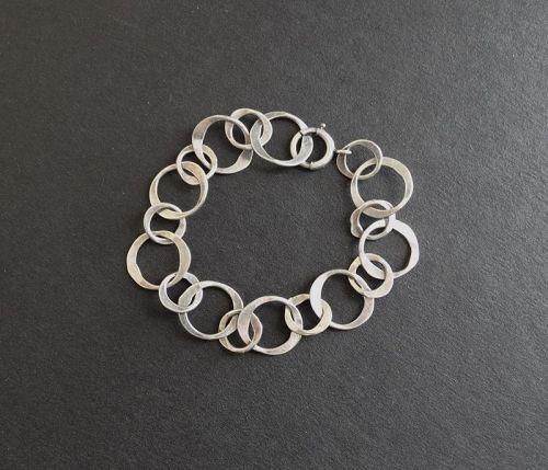 Modernist John Lewis Hammered Sterling Silver Circles Bracelet Circles