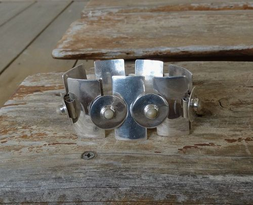 Vintage Silver Mexico Bracelet Pre Eagle Modernist Geometric Agates