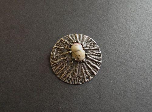 Vintage Hand Wrought Sterling Silver Brutalist Brooch Modernist Agate