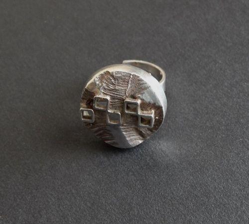 Vintage Sweden Modernist Brutalist Ring 830 Silver Size 7 Adjustable