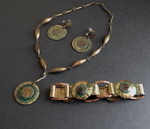 Casa Maya Mexico Copper Brass Enamel Pendant Bracelet & Earrings