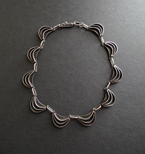 Vintage Modernist FRIDL Blumenthal Sterling Necklace Collar Choker