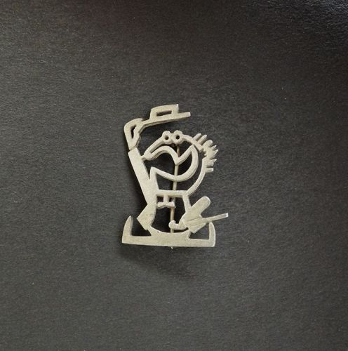 Vintage Modern Ted Lowy Brooch Sterling Stylized Man Top Hat & Cane