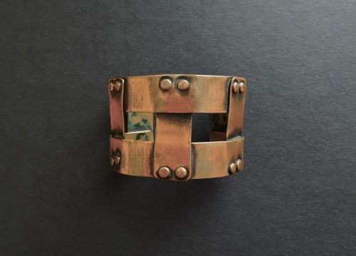 Rare Art Smith MCM Bracelet Woven Copper Double Signed Wide NYC