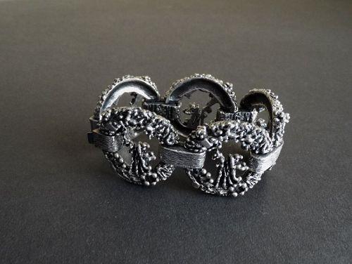Vintage Guy Vidal Modernist Bracelet Plated Pewter Quebec Canada MCM
