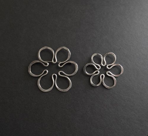 Vintage Modernist John Lewis Flower Brooches Sterling Indiv or Pair