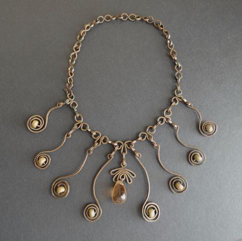 Vintage Hand Wrought Hammered Copper Brass Necklace Pendant Modernist