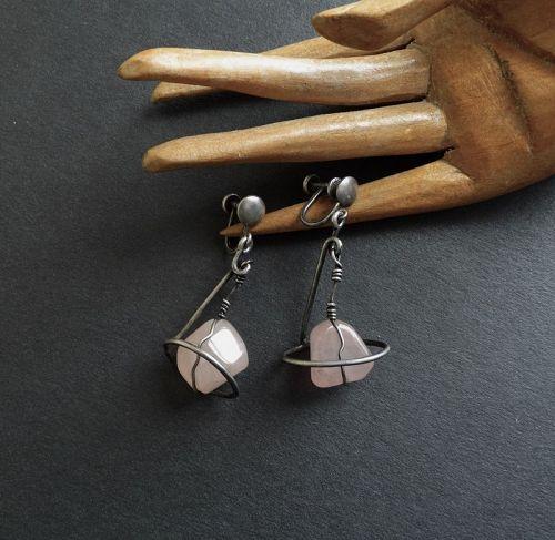Mid Century Modernist Sterling Caged Rose Quartz Earrings Screw Backs