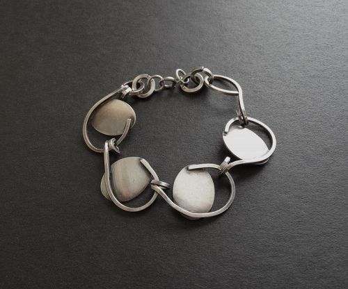Vintage Hand Made Sterling Silver Lobel Style Link Bracelet Modernist