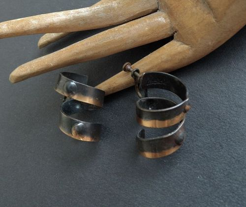 Rare Art Smith Mid Century Modernist Patinated Copper Earrings Signed