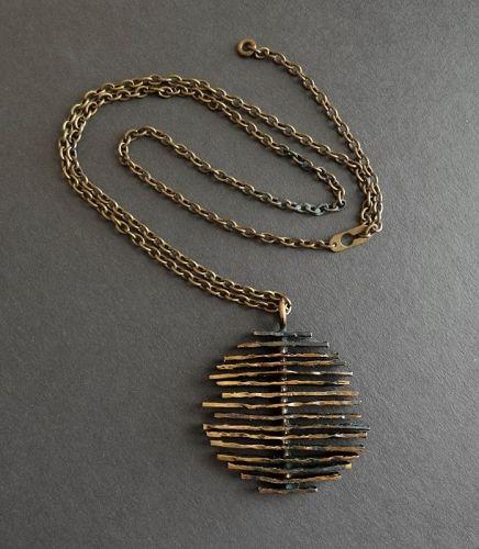 Owe Johansson Finland Brutalist Bronze Pendant Modernist Necklace