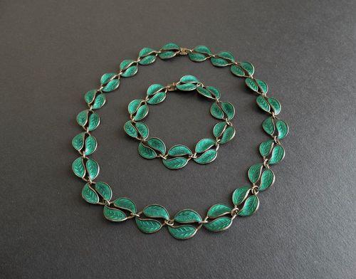David Andersen Norway Sterling Enamel Double Leaf Necklace & Bracelet