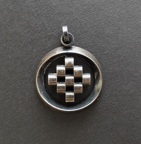 Finland Modernist Erik Granit Sterling Silver Pendant Geometric 1974