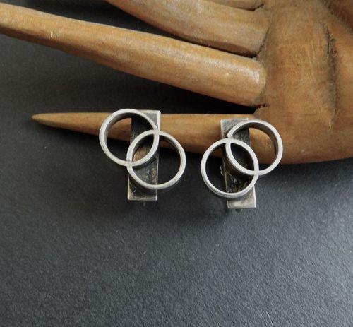 Vintage Modernist Henry Steig Sterling Geometric MCM Earrings